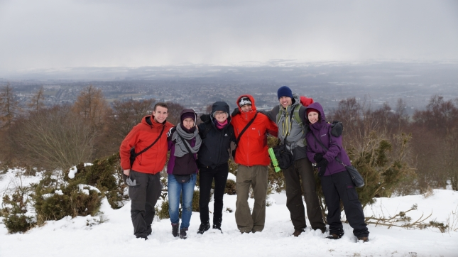 Our group after the hike to Kinnoull Tower.