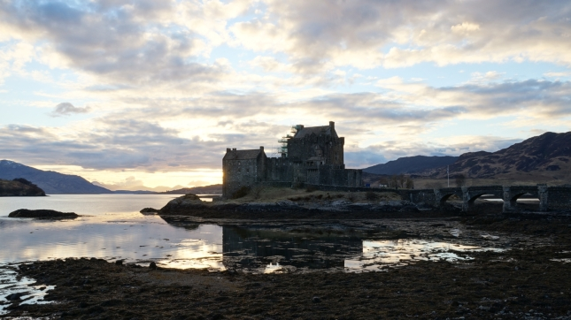 Eilean Donan Castle at low tide.